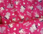 Hot Pink Skull Hello Kitty skeleton Halloween fabric from Japan Kokka Half Yard