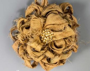 "Gold Sari Silk Flower Brooch, Handmade 3 1/2"" Sari Silk Gold Flower Brooch, Gold Sari Silk Flower Brooch"