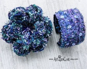 Bead Embroidered Silk Cuff Bracelet and Crochet Brooch Set - Lilac and Blue Bead Embroidered Cuff Bracelet - Crochet Flower Brooch