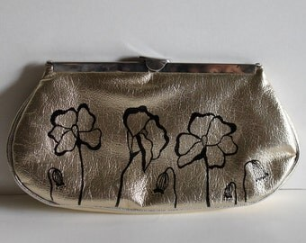 Bridesmade Purse - VINTAGE silver CLUTCH with hand painted Poppies
