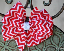 Red and White Chevron Ponytail Holder - 4 inch - Sport Bow - Boutique Bow - Elastic - Pony-o - Ponyo - Large Pony hair tie  - Chevron Stripe