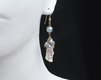 Silver Grey Keishi Baroque White Petal Pearls Murano Gold Earrings