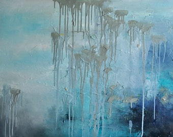 """Original Abstract Painting  Large Textured Oil Painting Neutral Grey Blue Winter Landscape 32""""x24"""""""