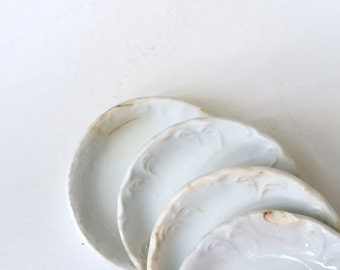 Four Antique Butter Pats . 1890's . White Ironstone China . Home Decor . English Ironstone . Johnson Bros .  J&G Meakin