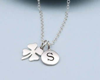 Silver Personalized Clover Necklace