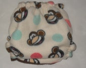 Monkey faces One size Fleece diaper wrap