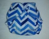 Blue chevron fleece diaper wrap