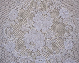 White Floral Lace Curtain Panel with Attached Valance 58 wide x 62 long...a total of 2 are available