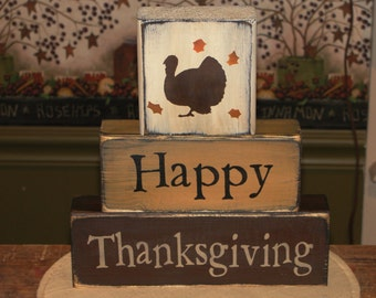 Happy Thanksgiving Primitive Wood Stacking Block Set - Thanksgiving Decor - Thanksgiving Blocks - Fall Home Decor - Shelf Sitter Decoration