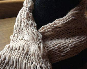 Hand knitted neck warmer/cowl. Stone coloured neck warmer. Knitwear.