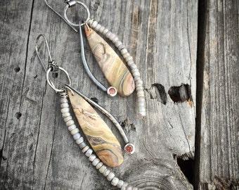 Sterling Silver Earrings Handmade Crazy Lace Agate Earrings Wild Prairie Silver Jewelry Joy Kruse