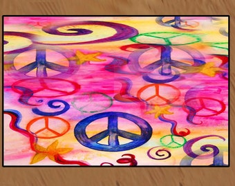 Peace sign art indoor-outdoor Bar Floor Mat.