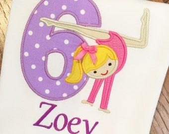 Girls Personalized Appliqued Gymnast Birthday Shirt