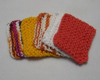 Square Knitted Face Scrubbies in Cotton