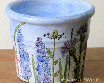 Watercolor Botanical Painted Clay Flower Pot Blue Sky Garden Flowers