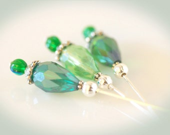 Emerald & Peridot Green Beaded Stickpins. Set of Three Crafting Pins. Scrapbooking and Crafting Embellishments