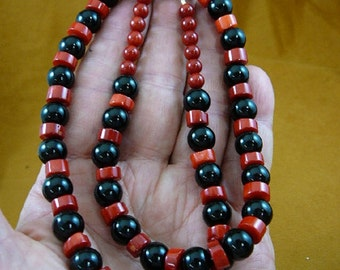 23 inch long 9x5 mm red bamboo coral with black Onyx beaded Necklace jewelry V30-132