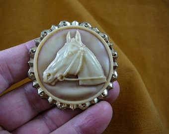 HORSE RACE Stallion head mare tan and ivory round CAMEO Brooch Pin Pendant brass cl54-2
