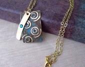 Embossed Brass Pendant Necklace, Embossed Metal Pendant, Swarovski Crystal, Brass Necklace, Patina Pendant, Boho Necklace, Boho Jewelry