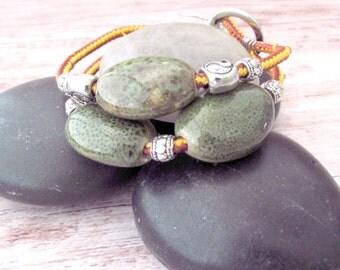 Womens Bohemian Bracelet - Boho Bangle Bracelet - Yin Yang Bracelet - Boho Double Strand Bracelet - Yoga Jewelry - Gifts for Her - Ceramic