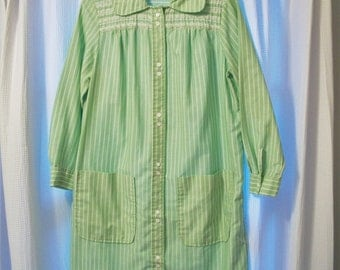 70s Cotton Robe HousecoatHouse Dress Knee Length Mint Green and White Stripe Size  Medium