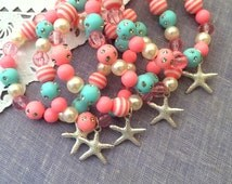 Mermaid party favor, starfish, children, child, kids, birthday, party favor, beaded, bracelets, stretchy jewelry, Set of TEN.