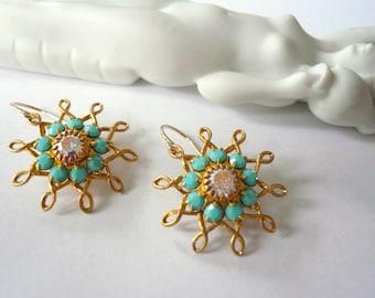 Turquoise earrings AB crystal earrings Swarvoski earrings Blue earrings Gold dangles Gold fill earrings Bridesmaid earrings Wedding earrings