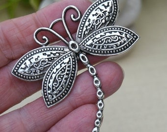 Antique Silver Dragonfly Pendant, Large Pendant for Scarves or Necklaces, Focal Pendant