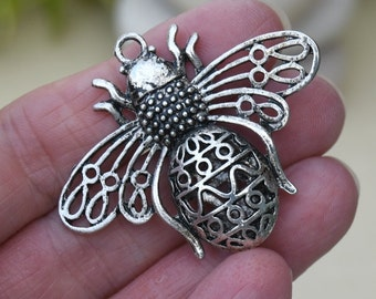 Antique Silver Bumblebee Pendant, Large Pendant for Scarves or Necklaces, Focal Pendant