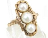 Reserved for Nikki Antique 18K Pearl Filigree Ring Rose Gold Art Deco Victorian Size 7 RG 3.15 Gr