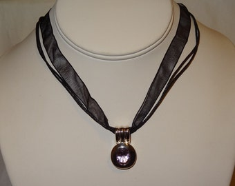 Vintage Sterling Silver Amethyst Pendant and Necklace