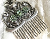 Antiqued Silver Tone Floral Hair Comb With Pale Green Crystal