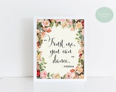 PRINTABLE Wedding Bar Sign // Trust me, you can dance // Vodka Sign // Vintage Floral // INSTANT DOWNLAOD