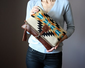 Large Leather fold over clutch, fold over bag, fold over purse, Pendleton wool and brown leather clutch with leather charm