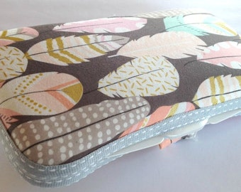 Designer Travel Wipes Case with Diaper Strap- Feathers on Gray