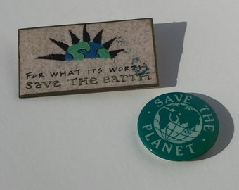 Vintage Save the Planet Eco-Warrior Pins 1990's