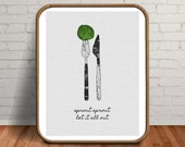 Vegan Gift, Vegan Poster, Mid Century Decor, Vegan Print, Dining Set, Dining Room Art, Minimalist Art Set, Illustration Print, Vegetables