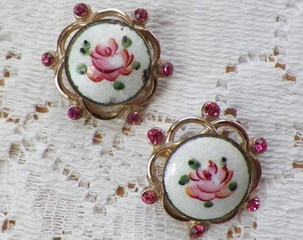 Two Vintage Signed Coro Small White Guilloche / Enamel, Pink Rose / Roses and Rhinestone Pins / Brooches / Broaches, Pink Rhinestones,