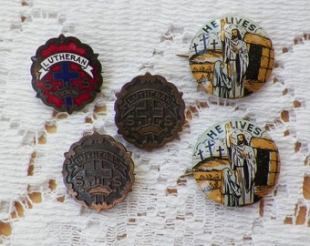 Vintage Lutheran Sunday School Pins / Badges, Guilloche / Enamel, Metal, Buttons, He Lives / Resurrection Buttons, Cross and Crown