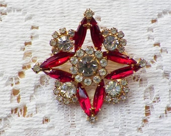 Vintage Ruby Red and Clear Rhinestone Brooch / Pin / Broach, Rhinestones, Gold Tone Metal, Square / Star Shaped