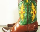 VTG 1940s 1950s Rare Rockabilly Inlays Western Cowboy Boots Wing Tip Green Red Brown Leather Shorty Pee Wee Boots