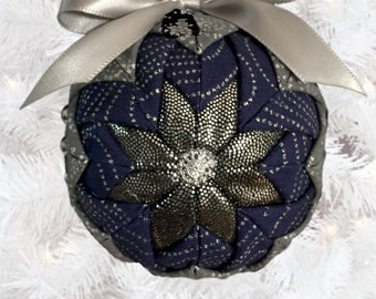 Blue & Silver Quilted Fabric Ornament