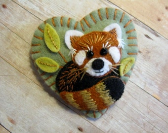 Red Panda Brooch - Made to Order Embroidered Felt Jewelry