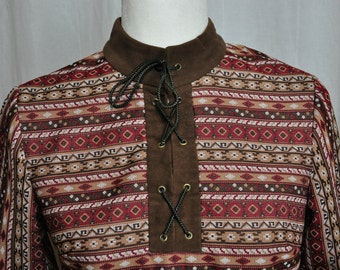 Vintage Amy Adams 60's 70's Dress Polyester Red and Brown Print Boho Lace Up