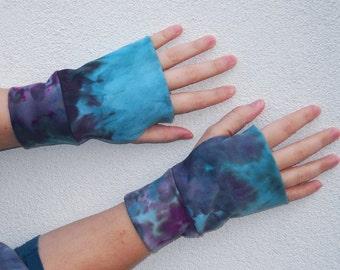 organic cotton fingerless gloves tie dye wrist warmers
