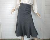 Reserved~~ 40s / 50 Trumpet Skirt in Gray Wool- 1950s Office Bombshell Wiggle Skirt- Medium