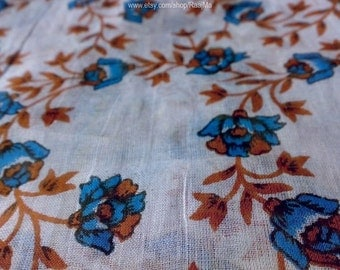 Floral Cotton Saree Fabric By The Yard, Indian Block Print Fabric, Soft Sari Fabric, Hand Printed Fabric, Indian Fabric, Sari Saree Material