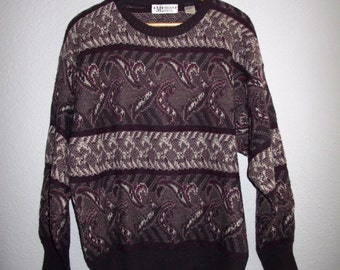 80s Patterned Unisex Slouchy Sweater Brian MacNeil, Pullover Acrylic Wool Mohair Sweater Mens Large, Winter Jumper Men L Smoky Purple Gray