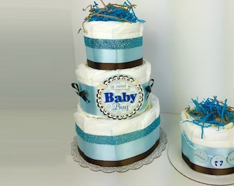 Boy baby diaper cake shower centerpiece, diaper cake centerpieces, boy baby shower decor, boy diaper cakes