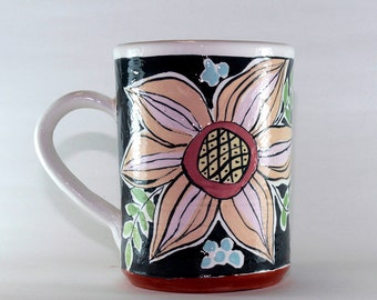 Hand painted Pottery Mug, Handthrown and slip decorated.